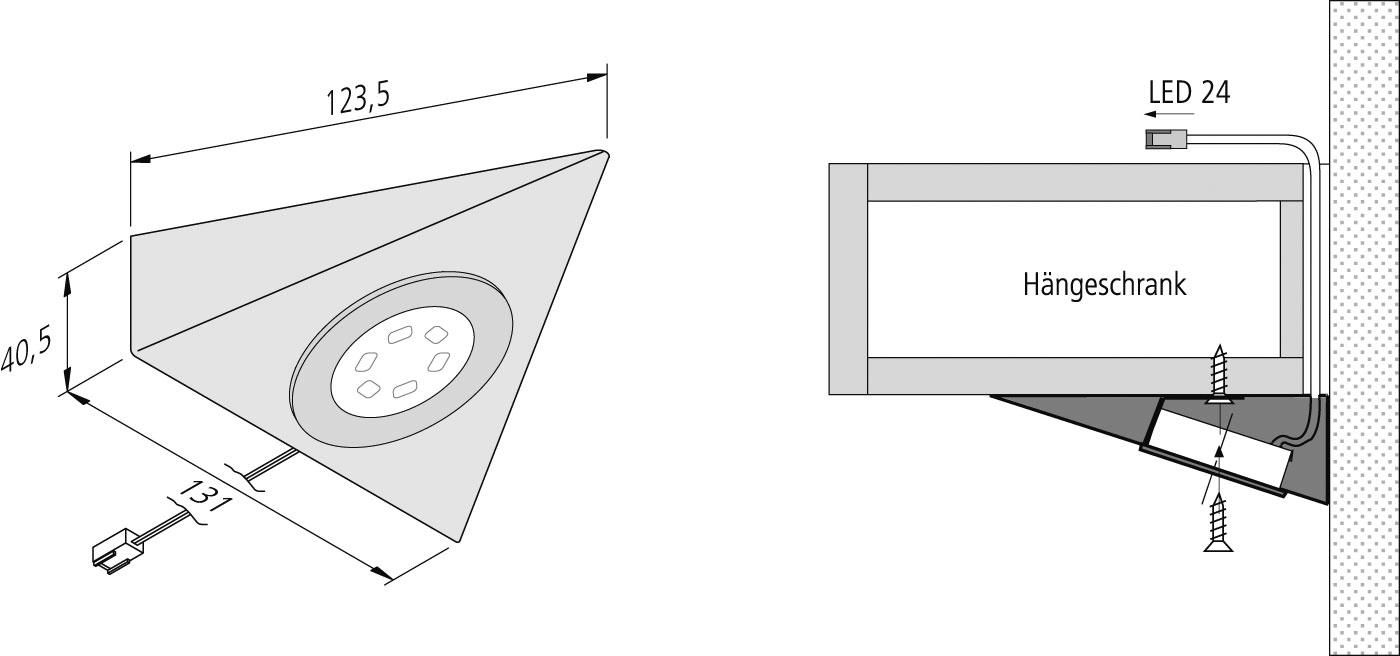 hera 61001461002 ul 2 led f unterbauleuchte 3w ca 3000 k. Black Bedroom Furniture Sets. Home Design Ideas